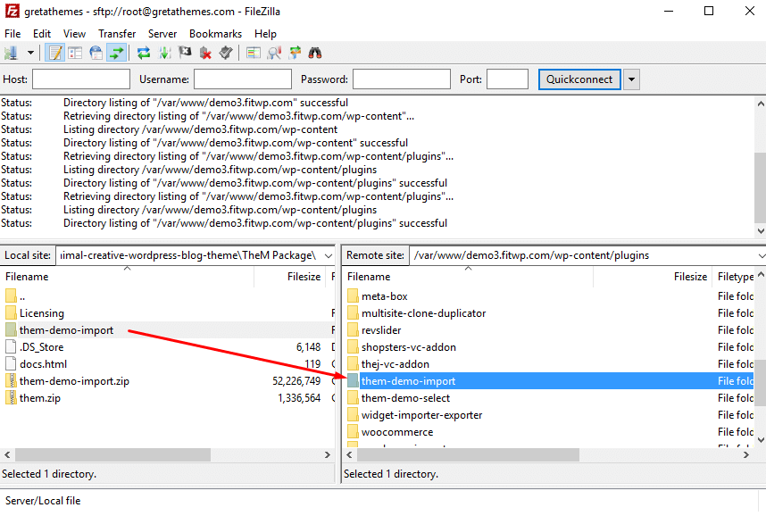 Install WordPTheme FTP